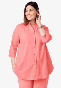 Linen Tunic, SUNSET CORAL