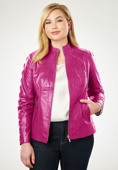 Lace Up Leather Jacket, BERRY