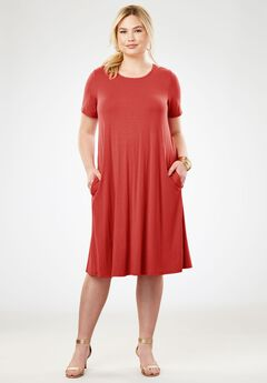 A-line Dress, BURNT RED