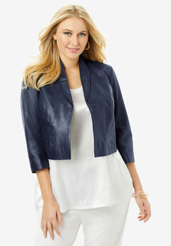 Leather Shrug Jacket, NAVY