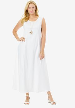 Denim Maxi Dress, WHITE