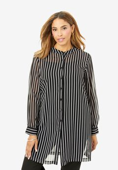 Georgette Button Front Tunic, BLACK CLASSIC STRIPE