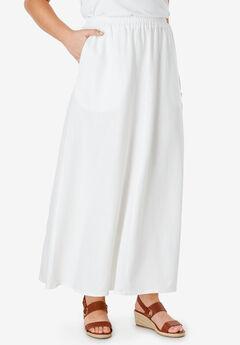 Linen Maxi Skirt, WHITE
