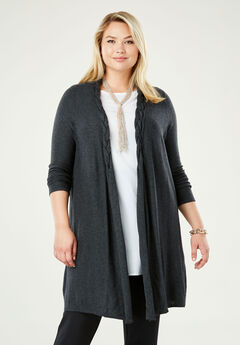 Cotton Cashmere Braided Sweater Duster, CHARCOAL GREY
