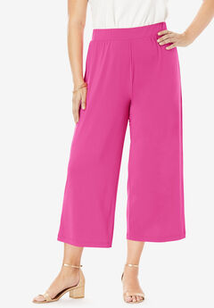 Stretch Knit Cropped Pants, TROPICAL RASPBERRY