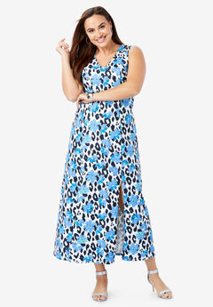 Denim A-Line Maxi Dress, NAVY CHEETAH FLORAL