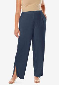 Side Slit Wide-Leg Crepe Pant, NAVY