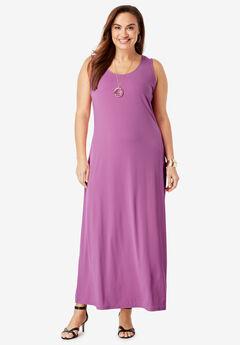 Sleeveless Maxi Dress, FUCHSIA PINK