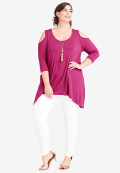 Handkerchief Hem Tunic, BRIGHT BERRY