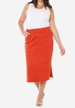 Comfort Waist Midi Skirt, FLAME RED