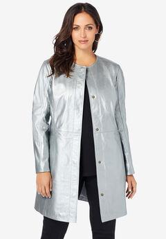 Three-Quarter Leather Jacket, SILVER