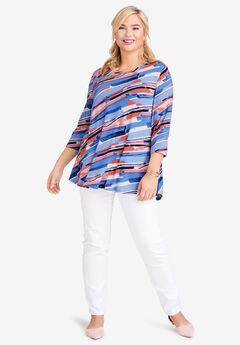 Trapeze Tunic, BLUE BRUSH STRIPE