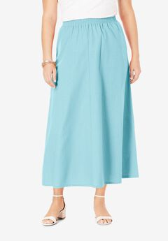 Linen Maxi Skirt, LIGHT AQUA