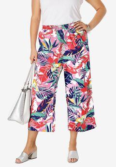 Wide Leg Linen Crop Pant, PARADISE GARDEN