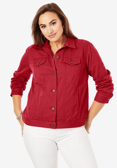 Classic Cotton Denim Jacket, CLASSIC RED