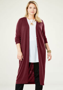 Fine Gauge Duster Sweater, BURGUNDY