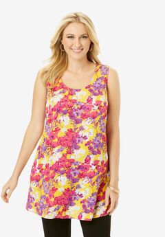 Georgette Tunic Tank, YELLOW WATERCOLOR FLORAL