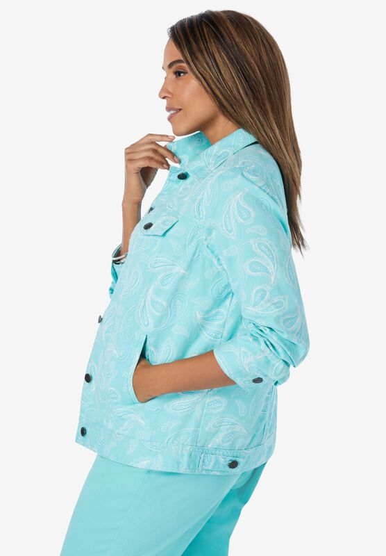 Jessica London Womens Plus Size Classic Cotton Denim Jacket
