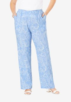 Lightweight Linen-Blend Wide-Leg Pants, BLUE DOTTED PAISLEY