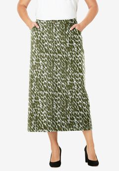 Classic Cotton Denim Long Skirt, OLIVE GRAPHIC ANIMAL