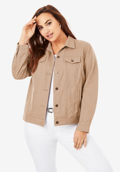 Classic Cotton Denim Jacket, NEW KHAKI