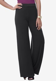 Everyday Stretch Knit Palazzo Pant, BLACK