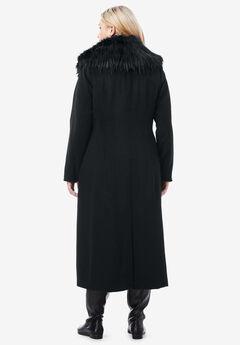 e05aab25a6e Long Wool-Blend Coat with Faux Fur Collar