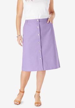 True Fit Denim A-Line Skirt, BRIGHT LILAC