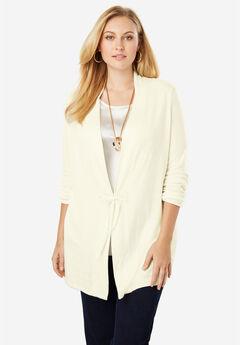 Velvet Tie-Front Cotton Cashmere Sweater, IVORY