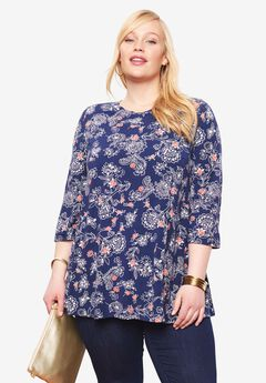 Trapeze Tunic, NAVY OPULENT FLORAL