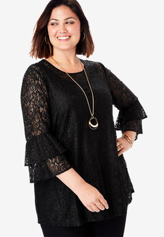 Lace Bell Sleeve Tunic,
