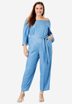 Off-The-Shoulder Tencel® Jumpsuit, LIGHT WASH