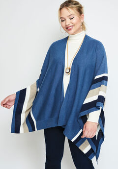 Shawl Sweater Poncho, ROYAL NAVY BORDER STRIPE