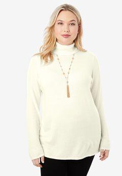 Cotton Cashmere Turtleneck, IVORY
