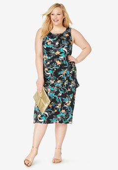 Side Tie Sheath Dress, BLACK ORCHID FLORAL