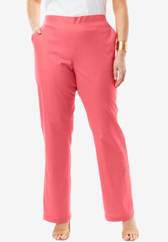 Pull-On Linen Pants, CORAL ROSE