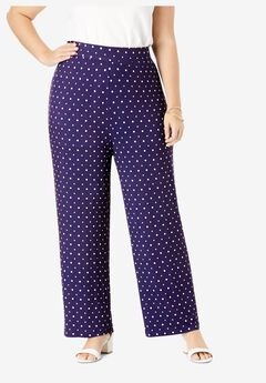 Everyday Stretch Knit Palazzo Pant, NAVY DOT