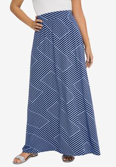 Everyday Knit Maxi Skirt, NAVY BIAS STRIPE