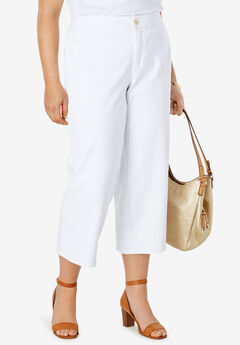 Cropped Straight Leg Jeans, WHITE