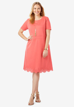 Ponte Eyelet Hem Dress, SUNSET CORAL