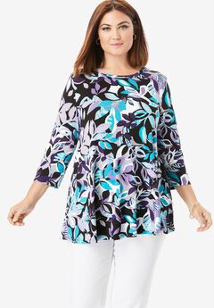 Swing Tunic, PURPLE LEAF