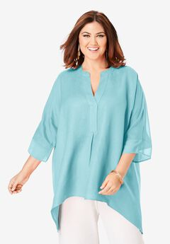 Hi-Low Linen Tunic, LIGHT AQUA