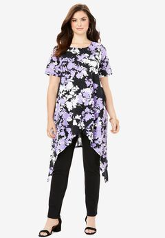 Side Point Tunic, BLACK GRAPHIC FLORAL