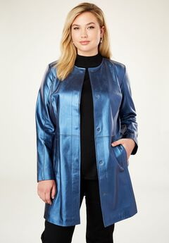 Three-Quarter Leather Jacket, MIDNIGHT PEARLIZED
