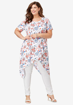 Side Point Tunic, WHITE JACOBEAN FLORAL
