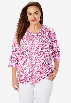V-Neck Tee, BRIGHT BERRY LEOPARD
