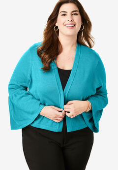 Bell Sleeve Sweater Shrug, DEEP TURQUOISE