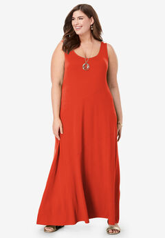 Tank Maxi Dress, FLAME RED