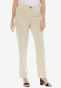Straight Leg Bi-Stretch Pants, LIGHT SAND