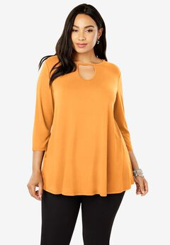 Keyhole Swing Tunic, BRIGHT MELON